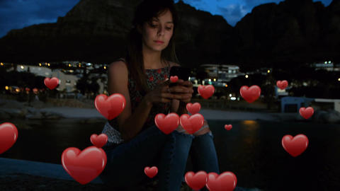 Woman texting with hearts 4k Animation