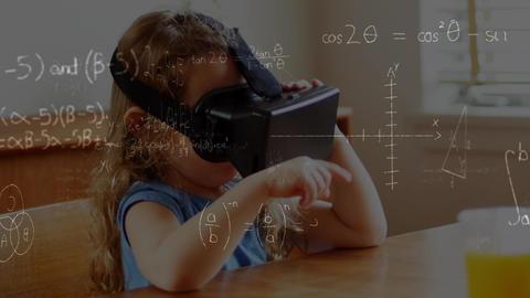 Little girl wearing virtual reality headset Animation