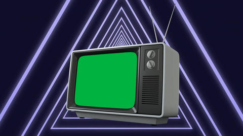 Television with a green screen with concentric circlesq Animation