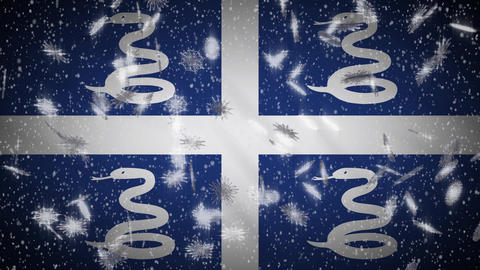 Martinique flag falling snow loopable, New Year and Christmas background, loop Animation