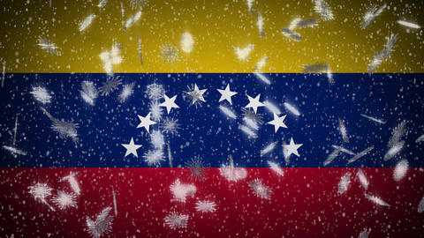 Venezuela flag falling snow loopable, New Year and Christmas background, loop Animation