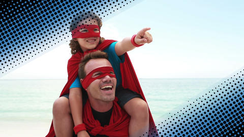 Father and daughter bonding as superheroes Animation