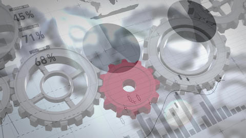 Red gear fit between other gears Animation
