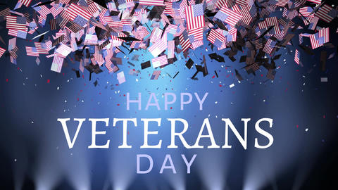 Veterans day with American flag falling from the sky Animation