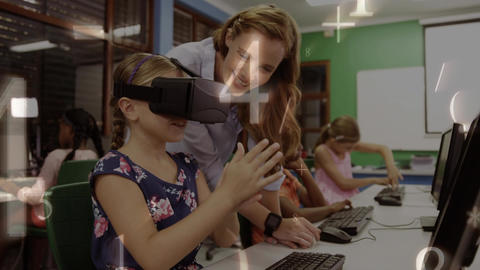 Little girl wearing a virtual reality headset in computer class Animation
