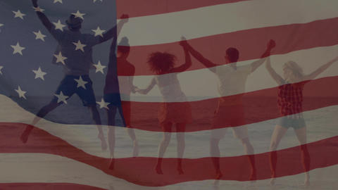 Group of people on the beach with an American flag Animation