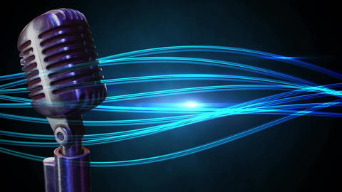 Microphone on a blue background Animation