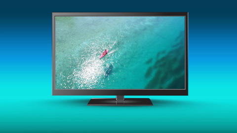 High definition flat screen television with a lake on its screen Animation