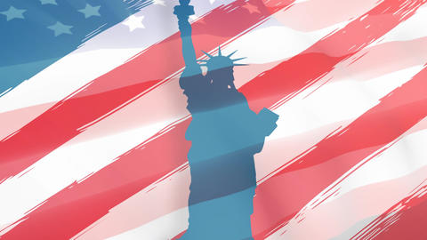 Statue of Liberty and American flag, Stock Animation