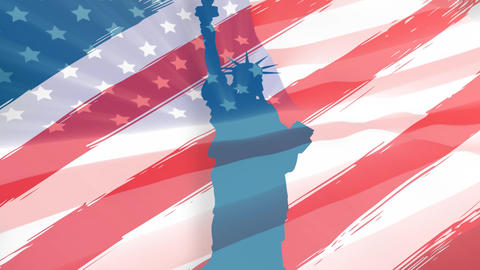 Statue of Liberty and American flag Animation
