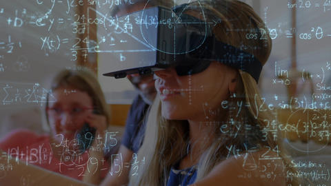 Girl wearing a virtual reality headset Animation