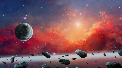 Space background. Colorful nebula with planet and asteroid. Elements furnished by NASA. 3D rendering Animation