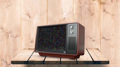 Television on a wooden table Animation