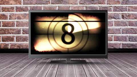 Television with a film countdown Animation