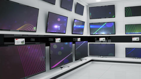 Televisions displayed at an electronics store Animation