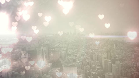 City filled with flying hearts Animation