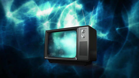 Television with cosmic lights Animation
