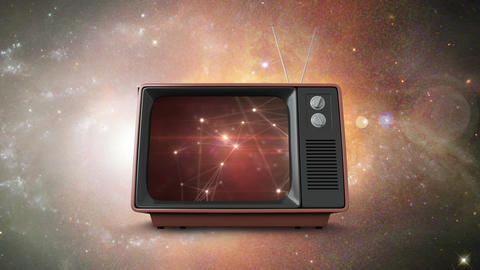 Television with floating in the galaxy Animation
