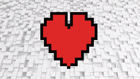 Pixel heart with pixel cubes Animation
