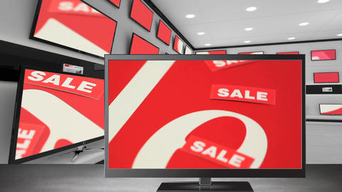 Flat screen television with sale label on its screen Animation