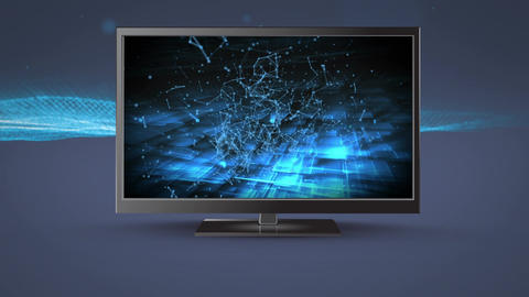 Flat screen television with connected lines Animation