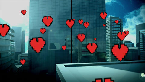 Tall buildings with flying hearts Animation