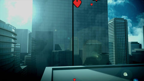 Tall buildings with flying hearts, Stock Animation