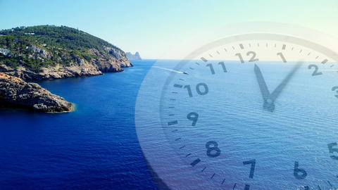 Ocean scenery with a clock Animation