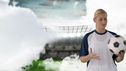 Female soccer player in a field stadium Animation