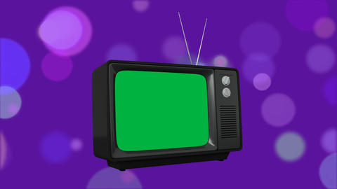 Television with a green screen and bokeh lights Animation