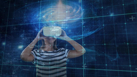 Woman wearing a virtual reality headset with a view of the galaxy Animation