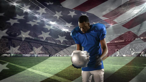 American football player putting on his helmet Animation