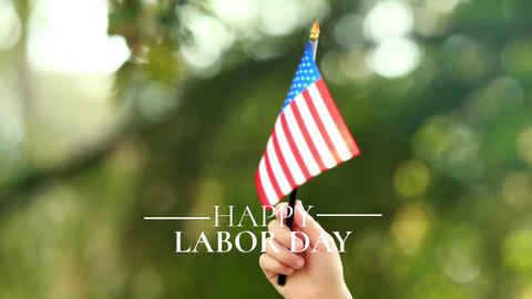 Labor day hand held flag Animation