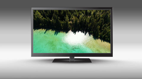 Television with a view of a lake on its screen Animation