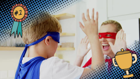 Superheroes mother and son high five Animation