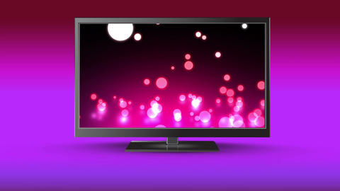 Flat screen TV with glowing marbles on its screen Animation