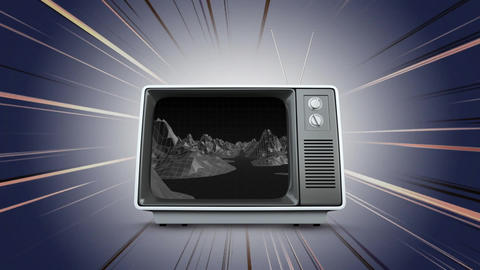 Television with a river and mountains on its screen Animation
