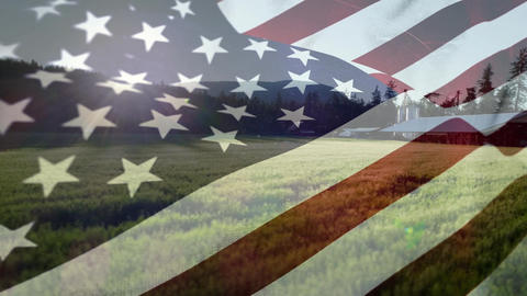 American flag and a field Animation