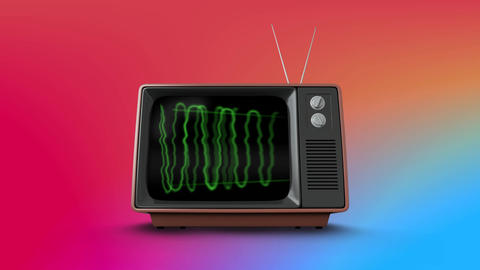Television with green electricity on its screen Animation