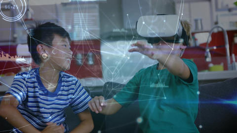 Two kids playing with a virtual reality headset Animation
