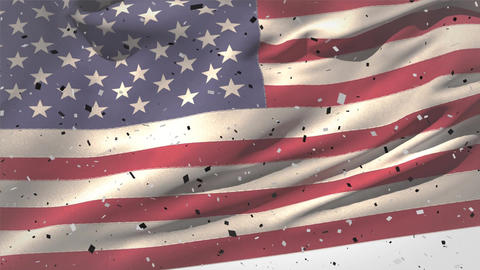 Confetti and American flag waving against the wind Animation