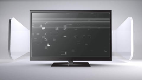 Flat screen TV with static noise Animation