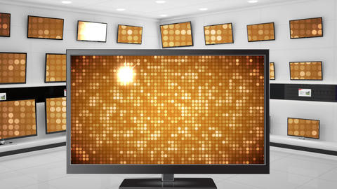 Monitors showing gold disco light effects Animation