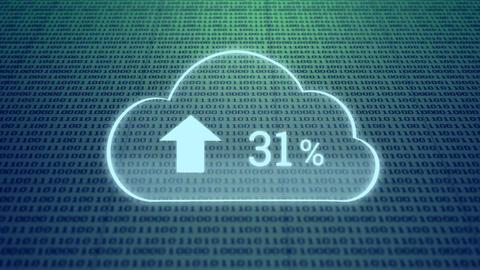 Upload progress percentage and binary codes Animation