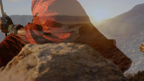 Native American man and view of the ocean during sunset Animation