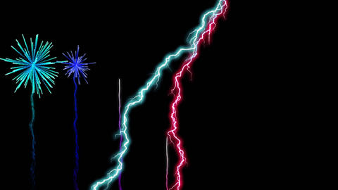 Colorful fireworks and lightning Animation