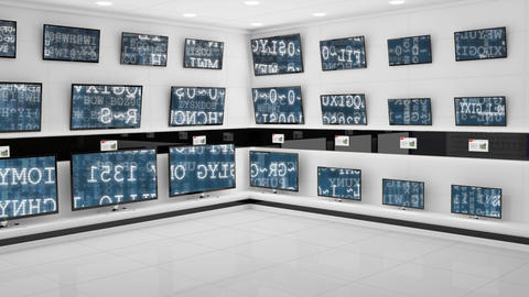 Flat screen televisions on display with interface codes on their screens Animation