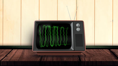 Television with green waves on its screen Animation