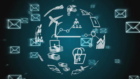 Digital application icons and envelopes Animation