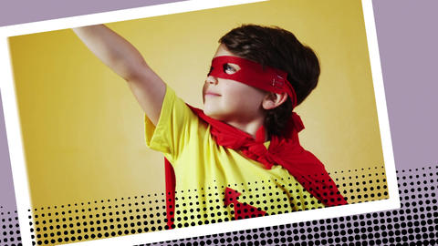 Boy wearing a superhero costume posing Animation